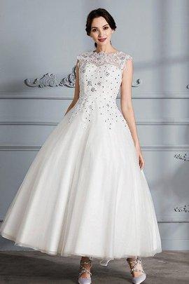Robe de mariée naturel textile en tulle jusqu'au mollet col u profond de mode de bal