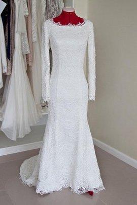Robe de mariée discrete distinguee de sirène avec décoration dentelle avec zip