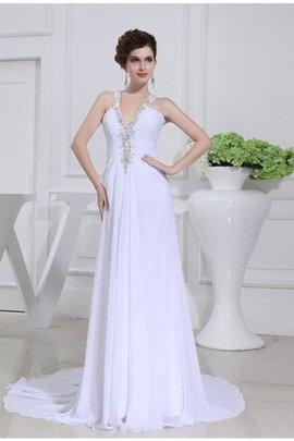 Robe de mariée appliques de col en v avec perle de traîne moyenne de princesse