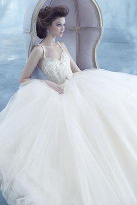 Robe de mariée naturel de mode de bal jusqu'au sol textile en tulle col ras du cou