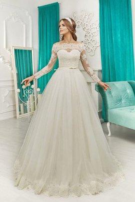 Robe de mariée naturel avec décoration dentelle de traîne moyenne ligne a avec nœud