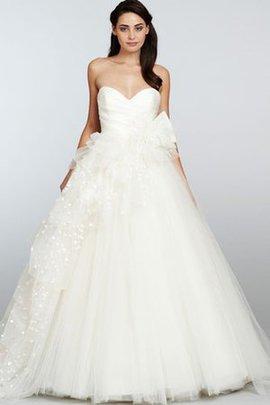 Robe de mariée naturel sexy bustier de plissé de col en cœur sans dos