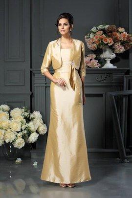 Robe mère de mariée grandes bretelles collant en taffetas avec zip manche nulle
