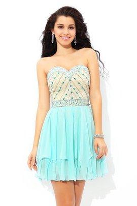 Robe de cocktail de princesse a-ligne avec zip col en forme de cœur avec perle