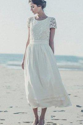 Robe de mariée elégant plissé nature avec manche courte col ras du cou