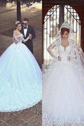 Robe de mariée naturel d'epaule ecrite de mode de bal en tulle avec manche longue