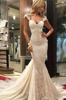 Robe de mariée naturel de traîne courte avec décoration dentelle v encolure de sirène