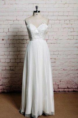 Robe de mariée naturel en tulle a plage manche nulle au niveau de cou