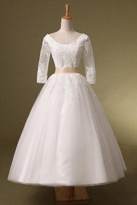 Robe de mariée naturel de col en v appliques avec fronce ligne a