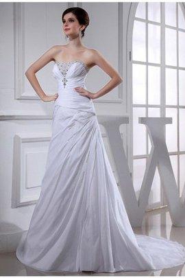 Robe de mariée avec sans manches de princesse avec lacets a-ligne de traîne moyenne