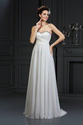 Robe de mariée de traîne mi-longue de col en cœur de princesse de lotus avec zip