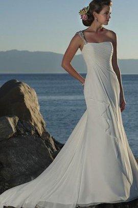 Robe de mariée d'épaule asymétrique avec perle de traîne courte manche nulle a plage