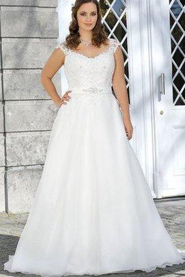 Robe de mariée facile avec décoration dentelle avec perle de traîne courte lache