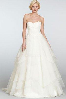 Robe de mariée manche nulle en organza en dentelle de traîne mi-longue de mode de bal