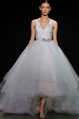 Robe de mariée avec gradins manche nulle textile en tulle avec perle avec cristal