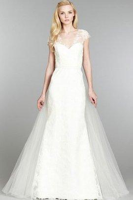 Robe de mariée luxueux naturel serieuse col en v foncé avec manche courte