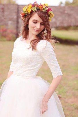 Robe de mariée delicat simple avec sans manches en 1/2 manche longueur au niveau de sol