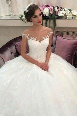 Robe de mariée naturel en tulle de mode de bal de traîne moyenne avec sans manches