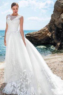 Robe de mariée en plage fermeutre eclair au niveau de cou avec bouton de traîne courte