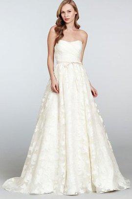 Robe de mariée naturel en organza avec ruban de traîne courte avec nœud