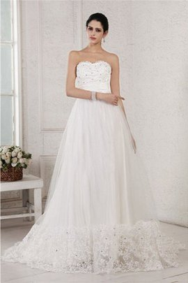 Robe de mariée longue manche nulle a-ligne avec perle de tour de ceinture empire