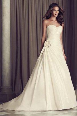 Robe de mariée naturel romantique fermeutre eclair avec fleurs de traîne courte