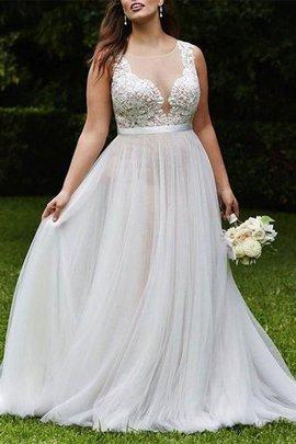 Robe de mariée manche nulle encolure ronde de princesse grosses soldes naturel
