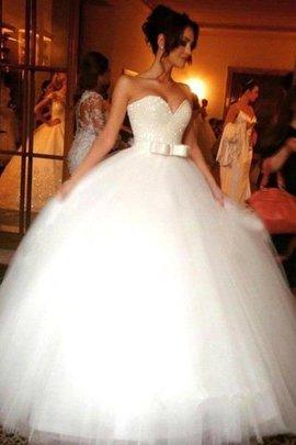 Robe de mariée naturel avec nœud à boucle manche nulle de mode de bal jusqu'au sol