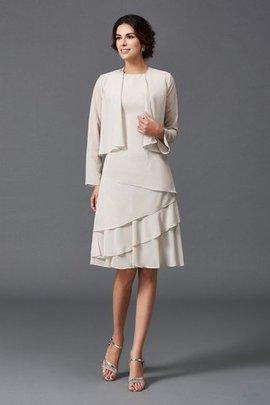 Robe mère de mariée naturel courte manche nulle au niveau de genou avec zip