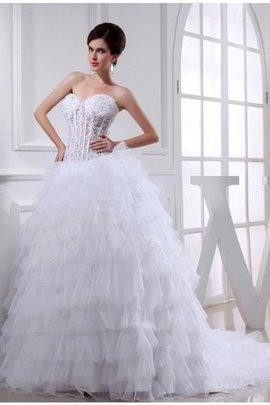 Robe de mariée avec lacets en organza de mode de bal avec perle appliques