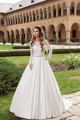 Robe de mariée romantique avec manche longue en satin avec cristal ligne a