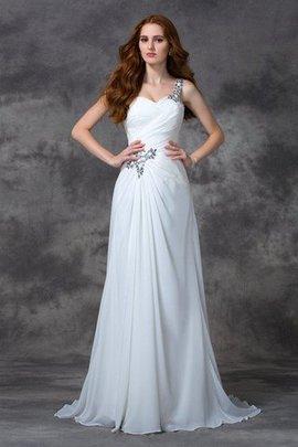 Robe de mariée naturel d'épaule asymétrique avec perle a-ligne en chiffon