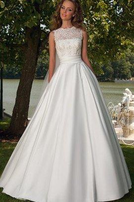 Robe de mariée romantique ligne a avec ruban de traîne courte de col entaillé