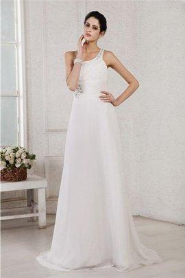 Robe de mariée avec perle fermeutre eclair de traîne courte de princesse avec chiffon