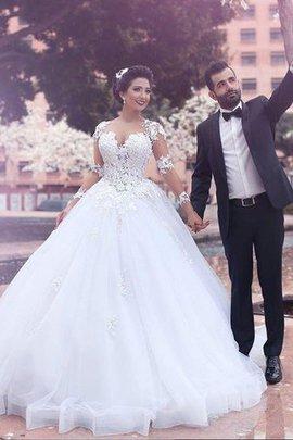 Robe de mariée naturel en tulle col en forme de cœur de mode de bal avec manche longue