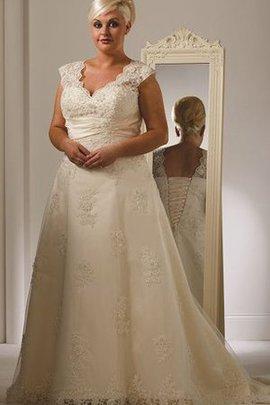 Robe de mariée distinguee cordon de col en v ligne a lache