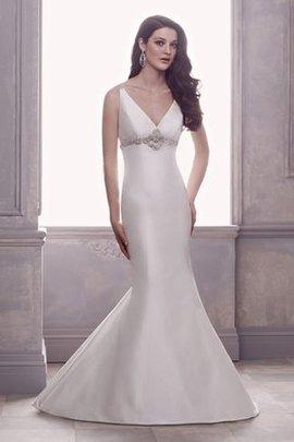 Robe de mariée romantique manche nulle ceinture avec perle avec perle de sirène