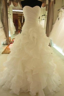Robe de mariée naturel de col en cœur de mode de bal en organza avec sans manches
