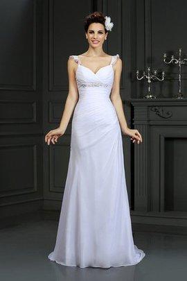 Robe de mariée longue avec sans manches de sirène fermeutre eclair avec perle