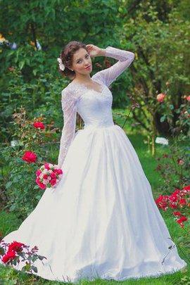 Robe de mariée romantique festonné cordon col élisabéthain col en v foncé