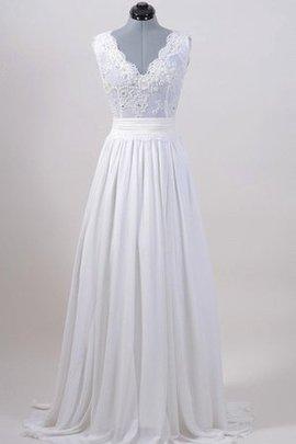 Robe de mariée festonné ceinture a plage avec chiffon avec nœud à boucles