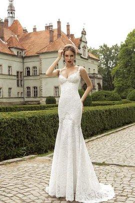 Robe de mariée distinguee romantique de sirène bandouliere spaghetti de traîne courte