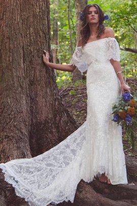 Robe de mariée facile distinguee festonné avec manche 1/2 de traîne moyenne