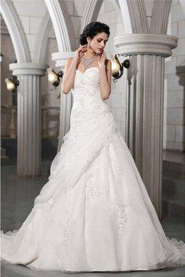 Robe de mariée longue decoration en fleur avec sans manches de princesse avec perle