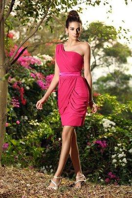 Robe demoiselle d'honneur courte naturel d'épaule asymétrique avec zip avec chiffon