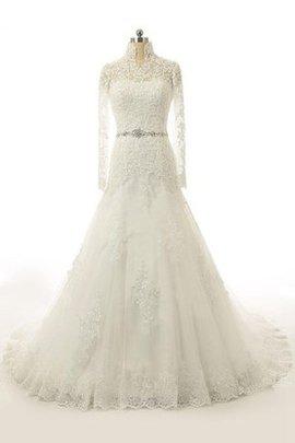 Robe de mariée romantique avec perle avec décoration dentelle de col haut de sirène
