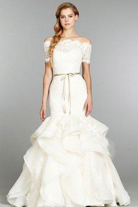 Robe de mariée de traîne moyenne a-ligne avec ruban en organza d'epaule ecrite