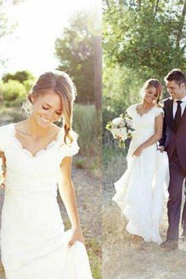 Robe de mariée avec décoration dentelle excellent avec sans manches v encolure naturel