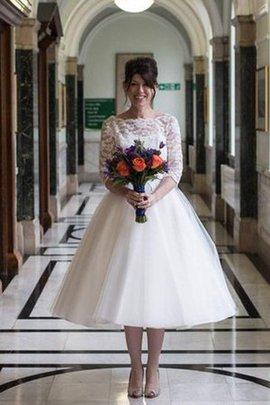 Robe de mariée plissage intemporel facile avec manche 1/2 avec décoration dentelle