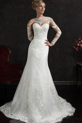 Robe de mariée humble delicat avec manche longue en dentelle trou serre